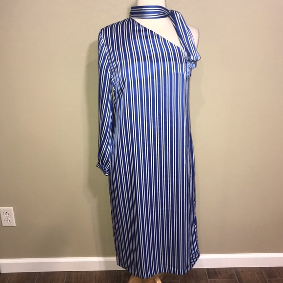 Banana Republic Blue White Stripe One Sleeve Dress